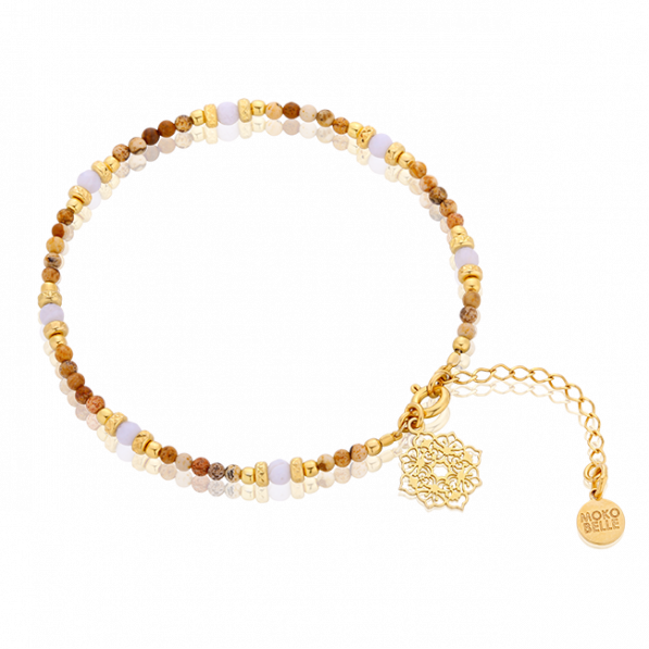 Jasper and chalcedony bracelet with Camellia rosette