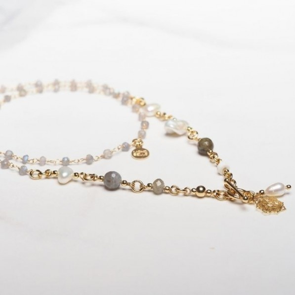 Rosary necklace of labradorites and pearls with Camellia rosette