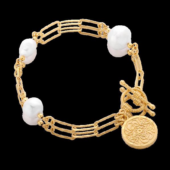 Chain bracelet with irregular pearls and Mokobelle medallion