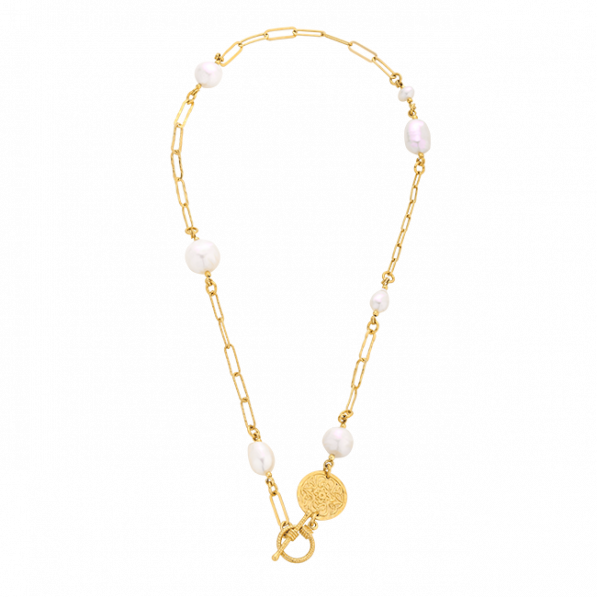 Chain necklace with pearls and medallion Mokobelle