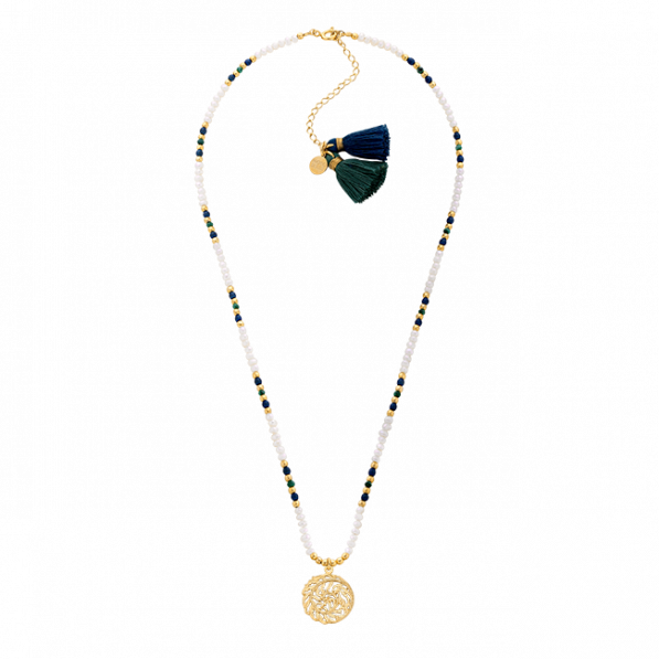 Necklace of natural stones and pearls with Flora rosette