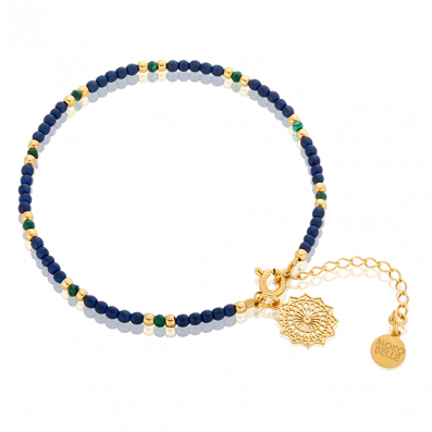 Hematite and malachite bracelet with a Margerita rosette