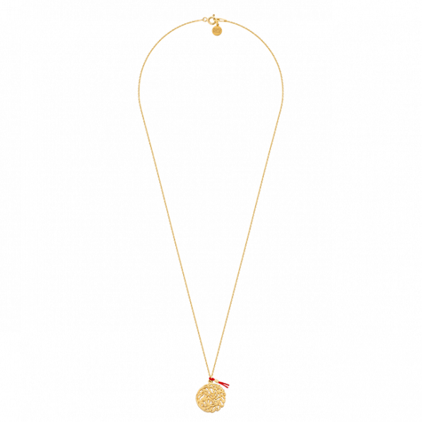 Chain necklace with Flora rosette and red thread