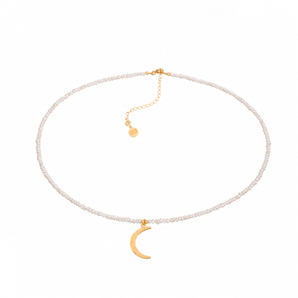 Natural pearls choker with crescent moon pendant