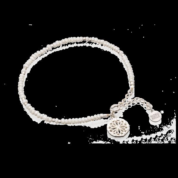Silver pearl bracelet with Alice rosette