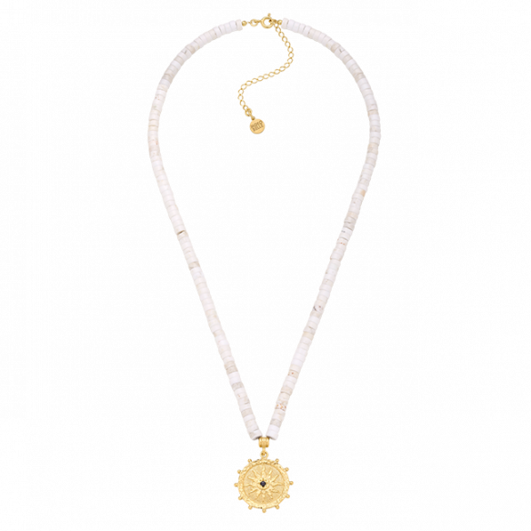 Howlite necklace with Solaris rosette